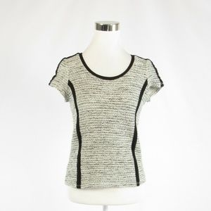 Ann Taylor heather gray white ribbed sweater S
